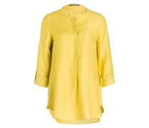 Bluse mit Leinenanteil - gelb