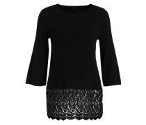 Pullover mit Spitzensaum - schwarz