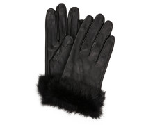 Lederhandschuhe mit Pelzbesatz - schwarz