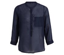 Bluse mit Seidenanteil - dunkelblau
