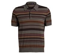 Poloshirt - khaki/ braun/ rot gestreift