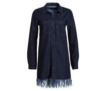 Jeanskleid mit Fransensaum - blau