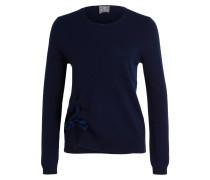 Cashmere-Pullover mit Samtschleife - blau