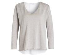 Pullover im Materialmix - grau/ weiss