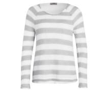Pullover - grau/ creme gestreift