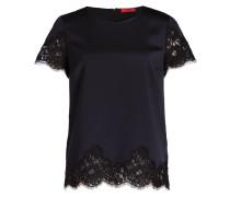 T-Shirt CIRAS mit Spitzensaum - blau