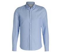 Hemd mit Leinenanteil - blau