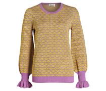 Strickpullover - gelb/ pink