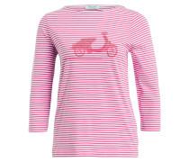 Shirt mit 3/4-Arm - pink/ weiss