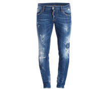 Destroyed-Jeans Slim-Fit - 470 blau