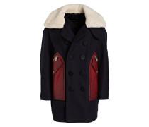 Caban-Jacke mit Pelzkragen - marine/ rot