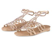 Sandalen mit Strasssteinbesatz - beige