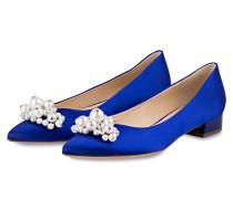 Ballerinas mit Perlenbesatz - blau