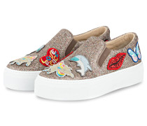 Slip-On-Sneaker mit Patches - grau