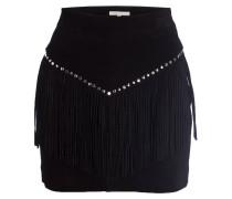 Lederrock mit Fransen - schwarz