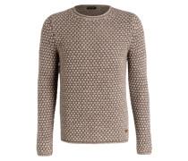 Grobstrick-Pullover - hellbraun