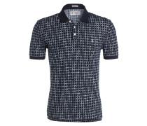 Piqué-Poloshirt mit Leinenanteil - blau
