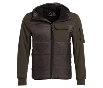 Softshell-Jacke im Materialmix - oliv