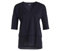 T-Shirt in Layer-Optik - dunkelblau