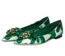Ballerinas mit Schmucksteinbesatz - grün