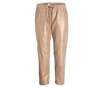 Lederhose im Jogging-Stil - beige
