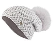 Mütze LEA mit Fellbommel - grau