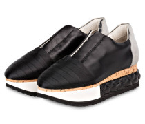Plateau-Sneaker - schwarz/ weiss/ silber