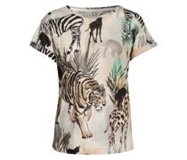 T-Shirt aus Leinen mit Schmucksteinbesatz