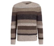 Grobstrick-Pullover - taupe/ grau/ braun