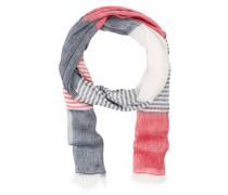 Schal mit Leinenanteil - rot/ grau/ ecru
