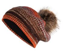 Mütze - orange/ braun/ beige