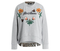 Sweatshirt mit Patches - grau