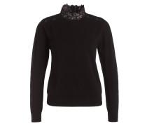 Pullover mit Spitzenbesatz - schwarz