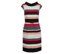 Kleid - rot/ grau/ beige