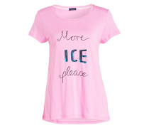T-Shirt mit Paillettenbesatz - pink