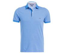 Piqué-Poloshirt Slim-Fit - hellblau/ weiss