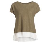Strickshirt mit Blusensaum - khaki/ weiss