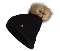 Grobstrick-Mütze mit Pelzbommel - schwarz