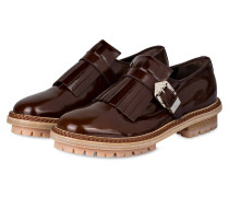 Plateau-Loafer aus Lackleder - braun
