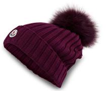 Mütze mit Pelzbommel - bordeaux
