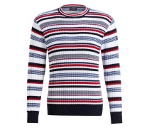 Pullover - weiss/ navy/ rot