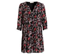 Kleid EVE mit 3/4-Arm - schwarz/ rot/ rosa