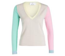 Cashmere-Pullover - beige/ gelb/ türkis