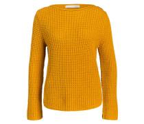 Grobstrick-Pullover - senfgelb
