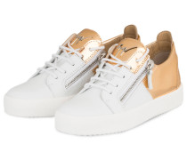 Sneaker DOUBLE - weiss/ bronze metallic