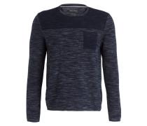 Pullover - marine/ weiss meliert
