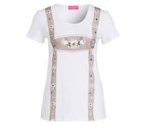 T-Shirt - weiss/ beige/ rosa