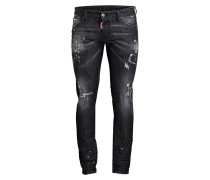 Destroyed-Jeans Slim-Fit - schwarz