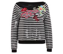 Sweatshirt mit Paillettenbesatz - schwarz