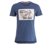 T-Shirt - blau meliert/ beige